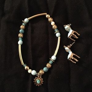 Set of 2 Blue and Goldtone Earrings and Bracelet